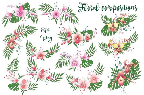 Print on Demand: Orchids Floral Arrangements Vector Set Graphic Illustrations By nicjulia - Image 6