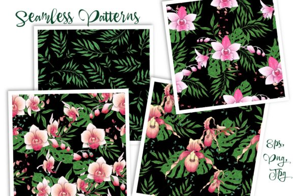 Print on Demand: Orchids Floral Arrangements Vector Set Graphic Illustrations By nicjulia - Image 9