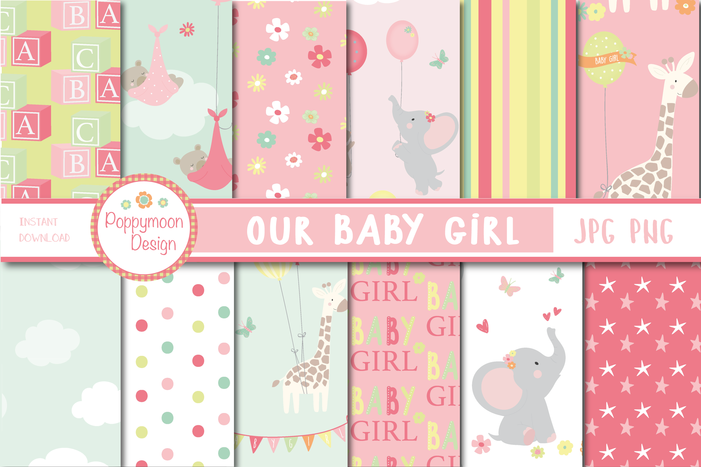 Download Free Our Baby Girl Papers Graphic By Poppymoondesign Creative Fabrica for Cricut Explore, Silhouette and other cutting machines.