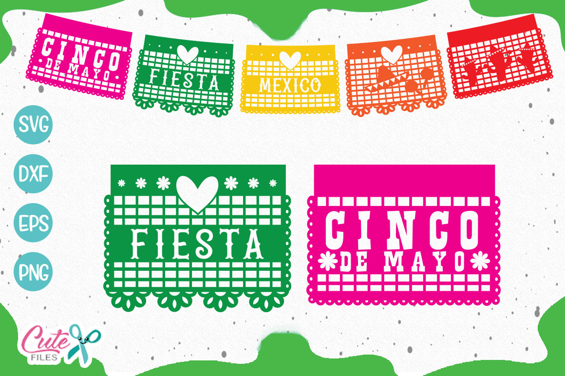 Download Free Papel Picado Banner Graphic By Cute Files Creative Fabrica for Cricut Explore, Silhouette and other cutting machines.