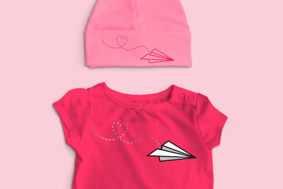 Paper Airplane with Heart Trail  Graphic Crafts By DesignedByGeeks