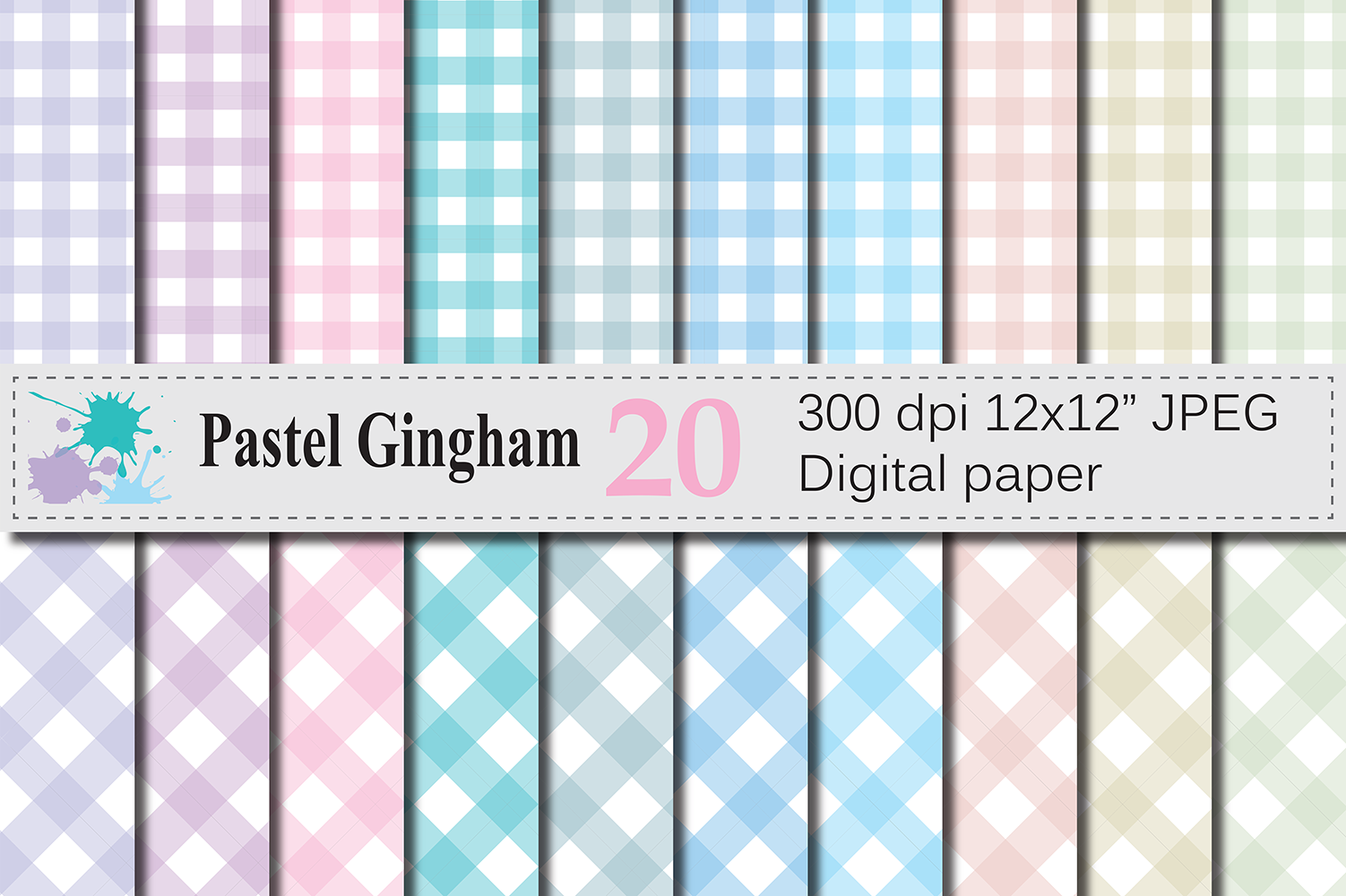 Download Free Pastel Gingham Digital Papers Graphic By Vr Digital Design for Cricut Explore, Silhouette and other cutting machines.