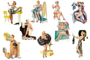 Pin Up Girls Clipart Graphic By retrowalldecor