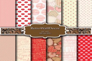 Pink Hearts Papers Graphic By retrowalldecor