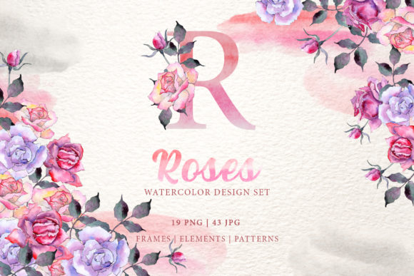 Print on Demand: Pink Roses Watercolor Png Gráfico Ilustraciones Por MyStocks