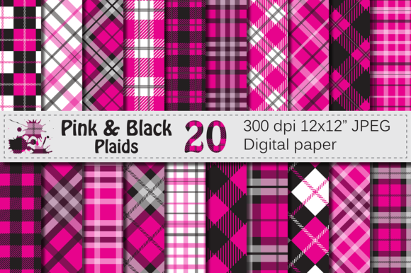 Pink and Black Plaid Digital Pattern