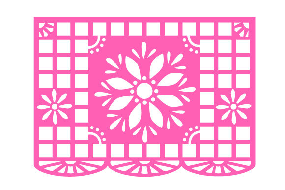 Papel Picado Flag Design with Flowers Picado Craft Cut File By Creative Fabrica Crafts