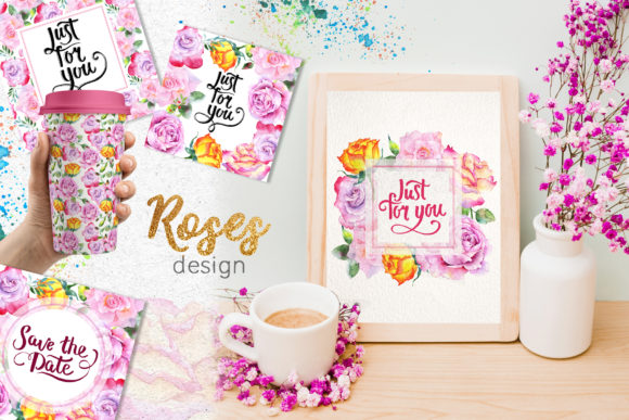 Pink Roses Watercolor Collection Graphic By MyStocks Image 2