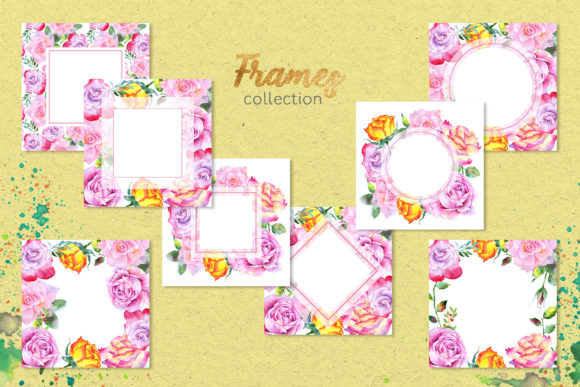 Pink Roses Watercolor Collection Graphic By MyStocks Image 5