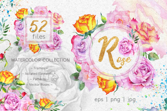 Print on Demand: Pink Roses Watercolor Collection Graphic Illustrations By MyStocks