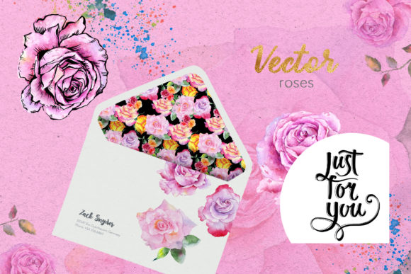 Pink Roses Watercolor Collection Graphic By MyStocks Image 7
