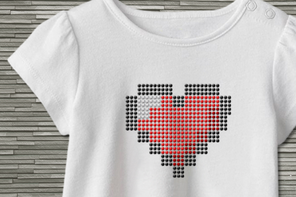 Download Free Pixel Heart Rhinestone Template Svg Grafico Por Designedbygeeks for Cricut Explore, Silhouette and other cutting machines.