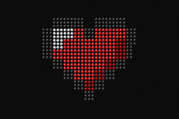 Download Free Pixel Heart Rhinestone Template Svg Graphic By Designedbygeeks for Cricut Explore, Silhouette and other cutting machines.