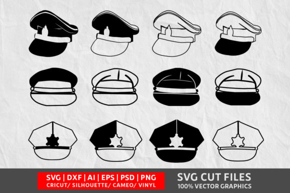 Download Free Police Cap Graphic By Design Palace Creative Fabrica for Cricut Explore, Silhouette and other cutting machines.