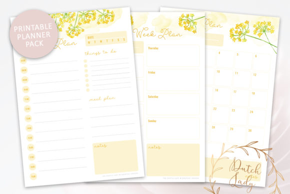 Print on Demand: Printable Planner Pack Graphic Print Templates By daphnepopuliers