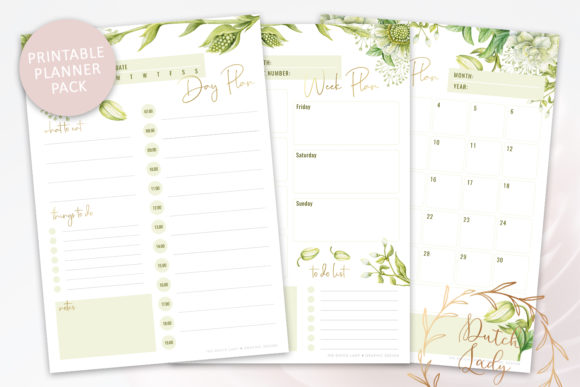 Print on Demand: Printable Planner Pack Graphic Crafts By daphnepopuliers