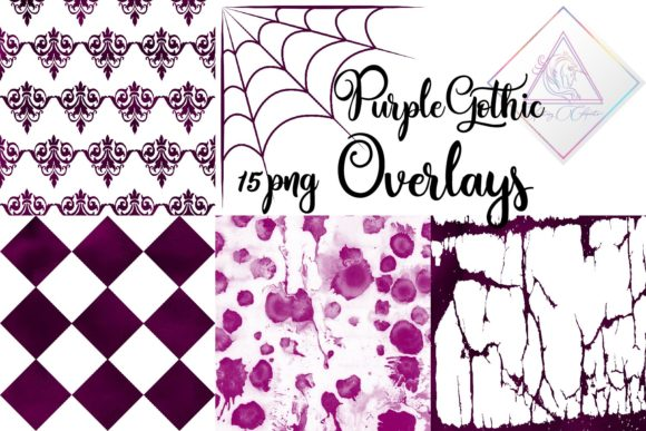 Print on Demand: Purple Gothic Overlays Clipart Graphic Patterns By fantasycliparts