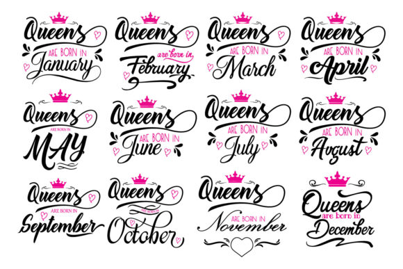 Download Free Queens Are Born In Graphic By Goran Stojanovic Creative Fabrica for Cricut Explore, Silhouette and other cutting machines.