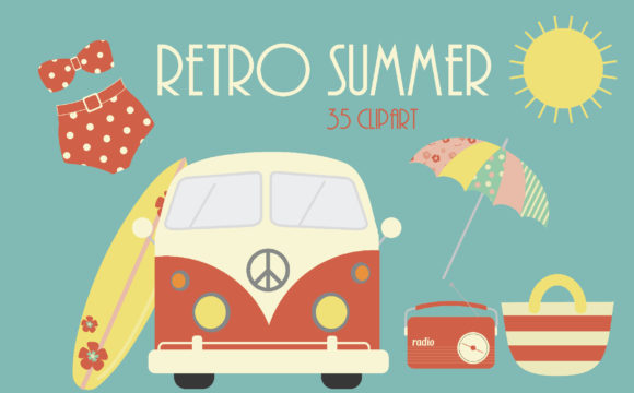 Print on Demand: Retro Summer Graphic Illustrations By poppymoondesign