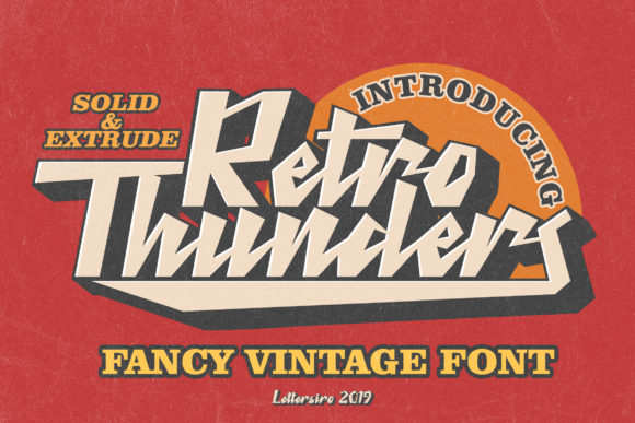 Print on Demand: Retro Thunder Display Fuente Por Lettersiro Co.