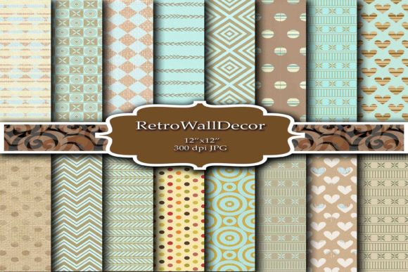 Download Free Retro Digital Paper Graphic By Retrowalldecor Creative Fabrica SVG Cut Files