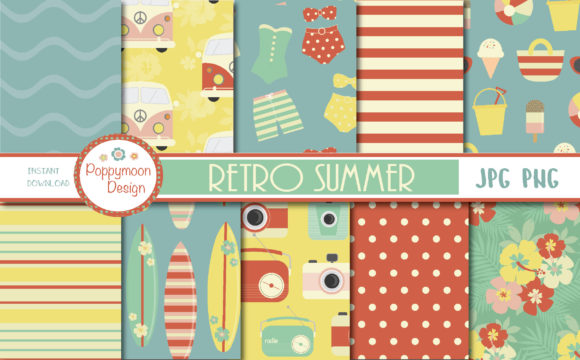 Print on Demand: Retro Summer Paper Graphic Patterns By poppymoondesign