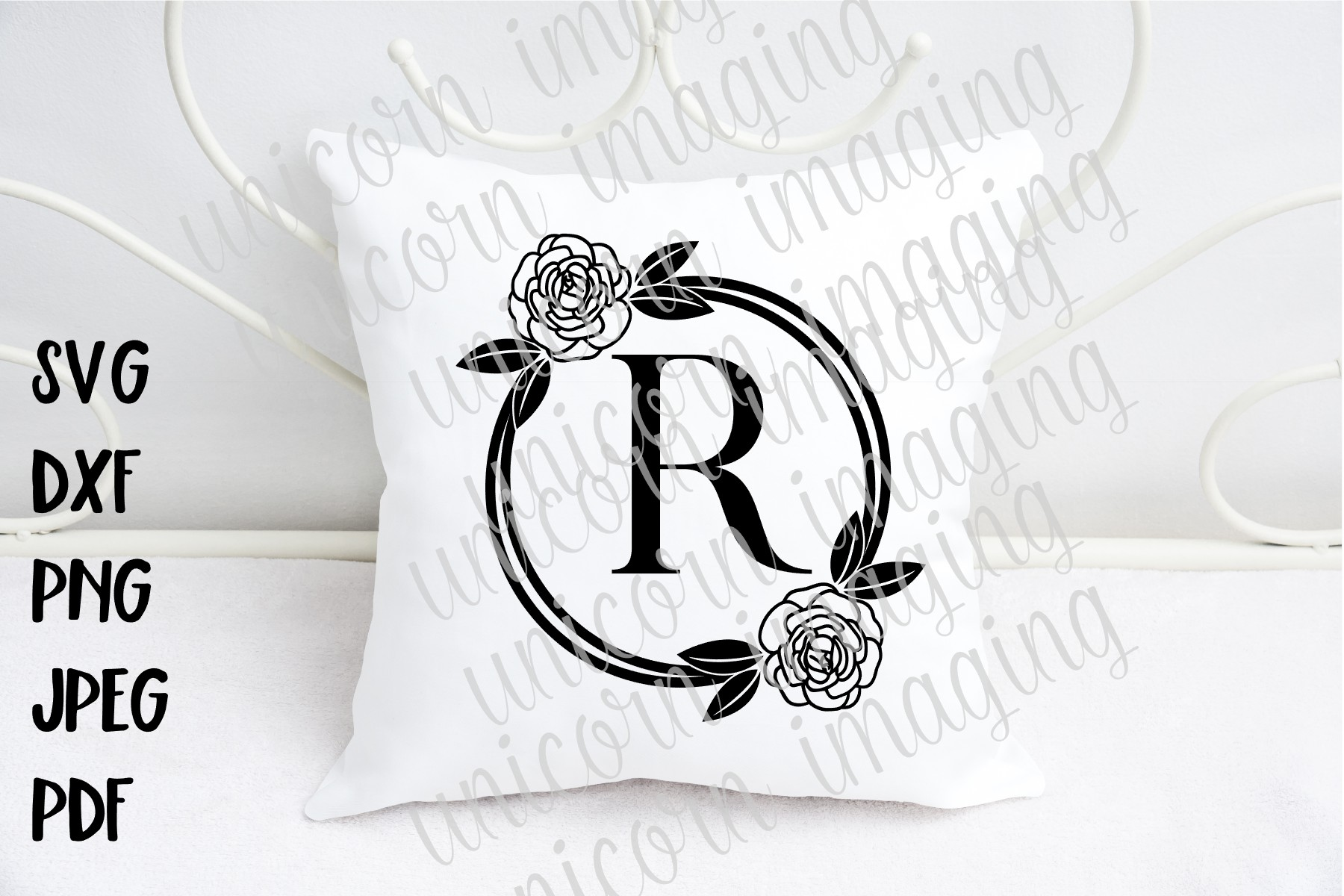 Rose Floral Monogram Frame Graphic By Unicorn Imaging Creative