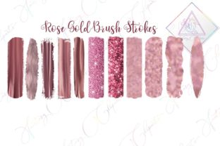 Rose Gold Brush Strokes Clipart Graphic By fantasycliparts