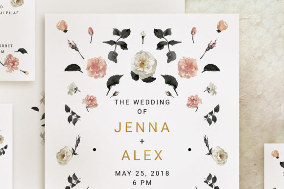 Print on Demand: Rose Gold Wedding Invitation Suite Graphic Print Templates By Blue Robin Design Shop - Image 3
