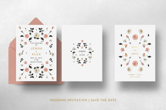 Print on Demand: Rose Gold Wedding Invitation Suite Graphic Print Templates By Blue Robin Design Shop - Image 8