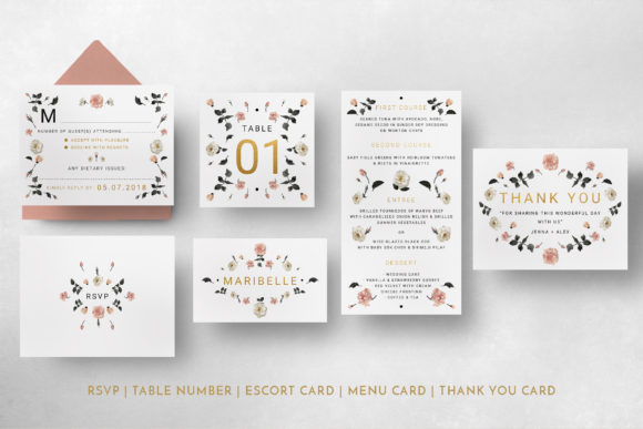 Print on Demand: Rose Gold Wedding Invitation Suite Graphic Print Templates By Blue Robin Design Shop - Image 9