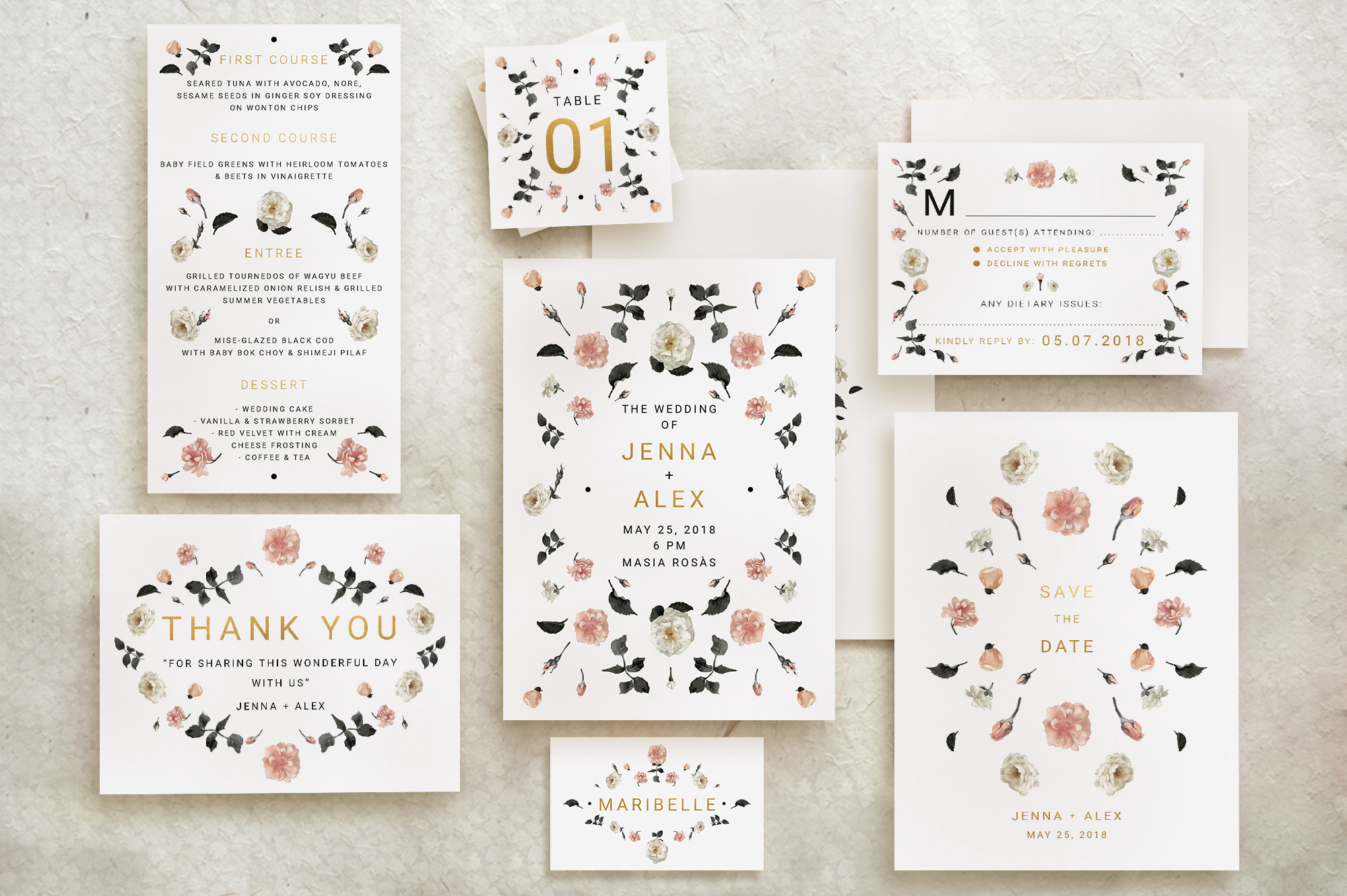 Download Free Rose Gold Wedding Invitation Suite Graphic By Blue Robin Design for Cricut Explore, Silhouette and other cutting machines.