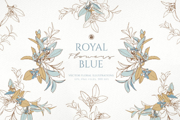Royal Blue Flowers Graphic Illustrations By webvilla