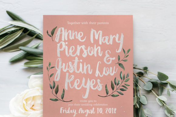Download Free Rustic Pink Green Wedding Invitation Suite Graphic By Blue SVG Cut Files