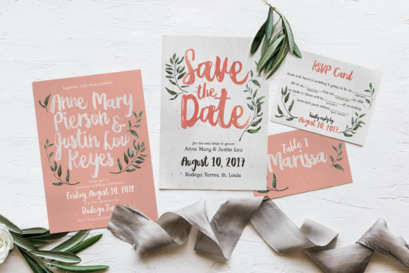 Download Free Elegant Tropical Wedding Suite Graphic By Blue Robin Design Shop for Cricut Explore, Silhouette and other cutting machines.