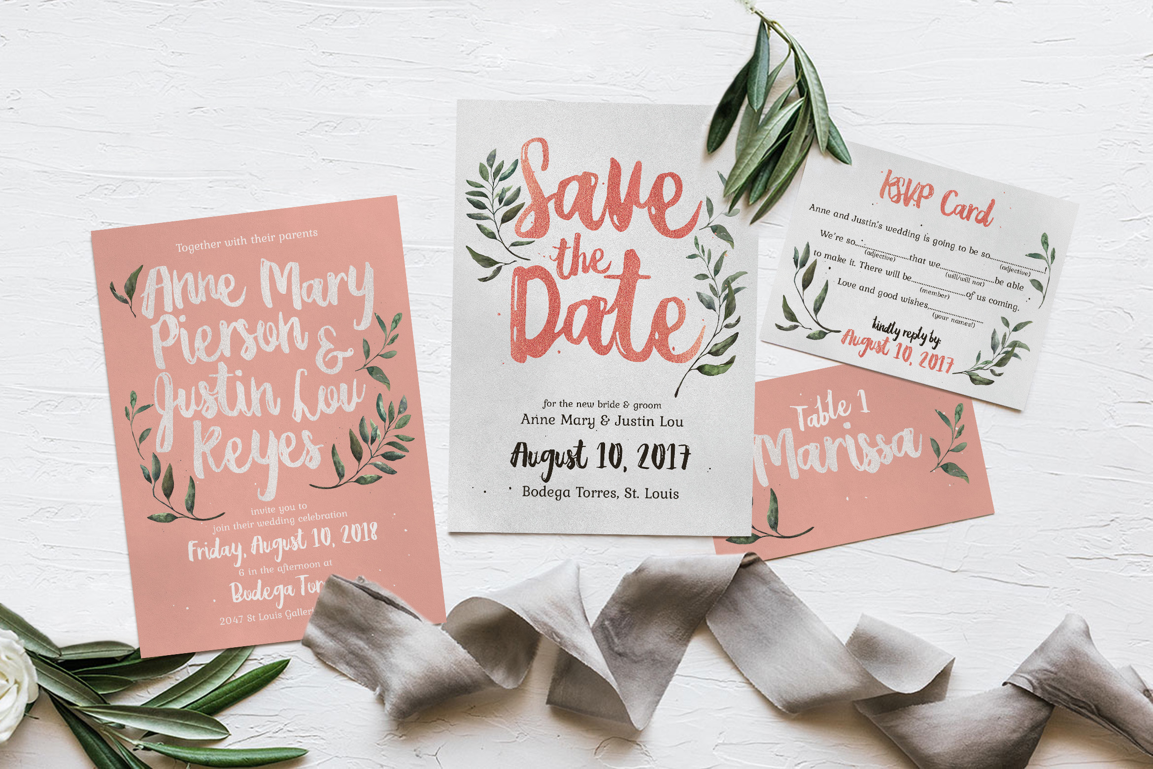 Download Free Rustic Pink Green Wedding Invitation Suite Graphic By Blue for Cricut Explore, Silhouette and other cutting machines.