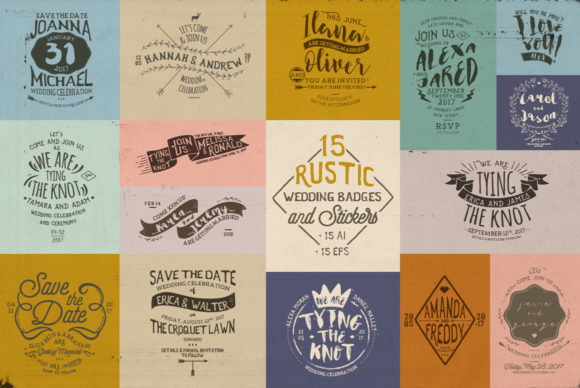Print on Demand: Rustic Wedding Badges & Sticker Graphic Logos By Blue Robin Design Shop
