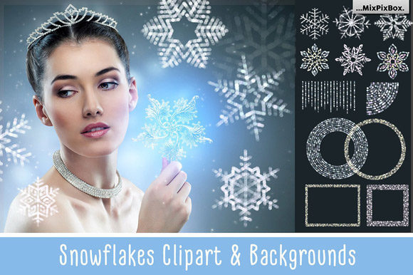 Print on Demand: SNOWFLAKES Clipart + Backgrounds Graphic Objects By MixPixBox