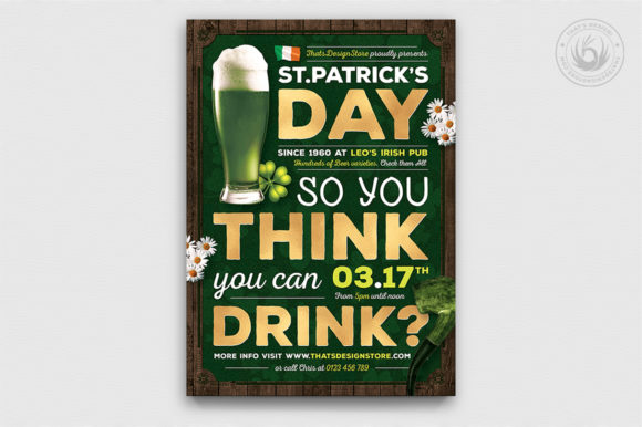 Download Free Saint Patrick S Day Flyer Template Graphic By Thatsdesignstore for Cricut Explore, Silhouette and other cutting machines.
