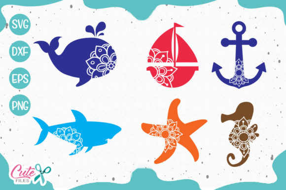 Download Free Sea Animals Mandala Svg Graphic By Cute Files Creative Fabrica for Cricut Explore, Silhouette and other cutting machines.