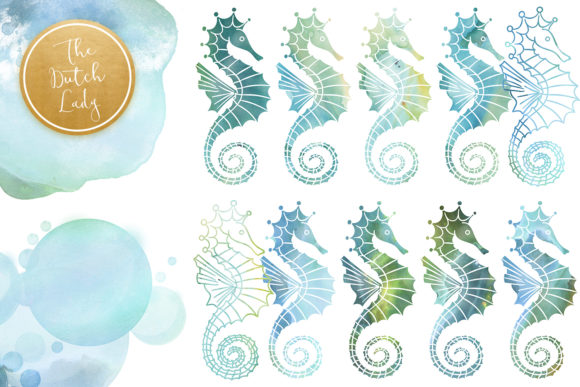 Print on Demand: Seahorse Clipart Set - Watercolor Sea Creatures Graphic Illustrations By daphnepopuliers - Image 3