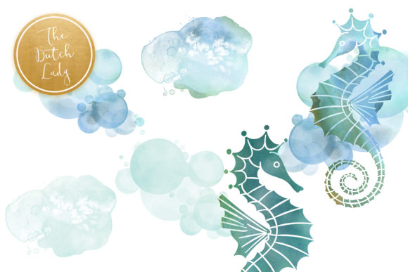 Print on Demand: Seahorse Clipart Set - Watercolor Sea Creatures Graphic Illustrations By daphnepopuliers - Image 5