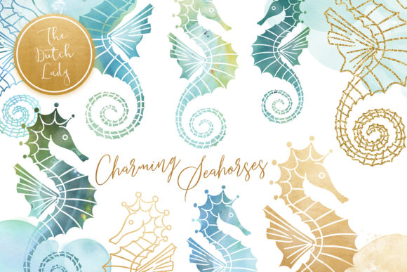 Print on Demand: Seahorse Clipart Set - Watercolor Sea Creatures Graphic Illustrations By daphnepopuliers - Image 1