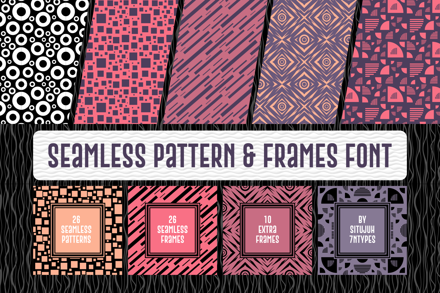 Download Free Seamless Pattern Frames Font By Situjuh Creative Fabrica for Cricut Explore, Silhouette and other cutting machines.