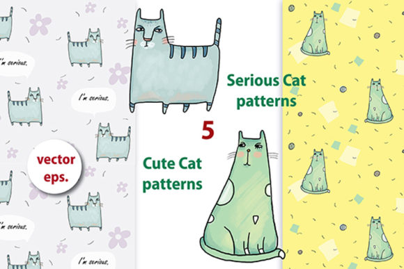Print on Demand: Serious Cat Collection Graphic Patterns By Zooza Art - Image 5