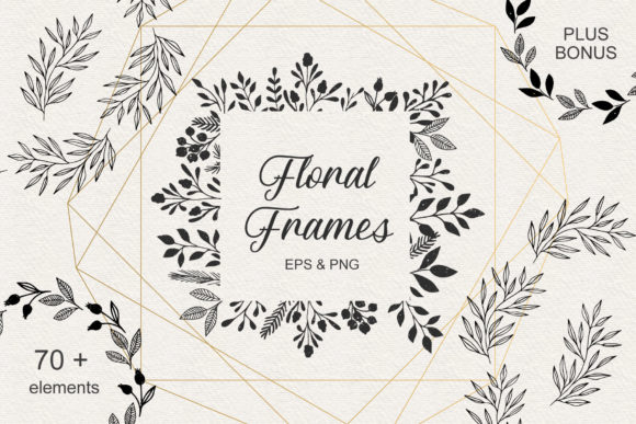 Set of Floral Frames Graphic Illustrations By anatartan