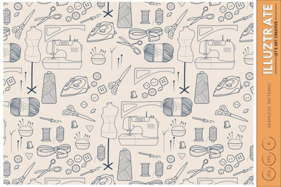 Print on Demand: Sewing Vector Patterns Graphic Patterns By illuztrate - Image 2