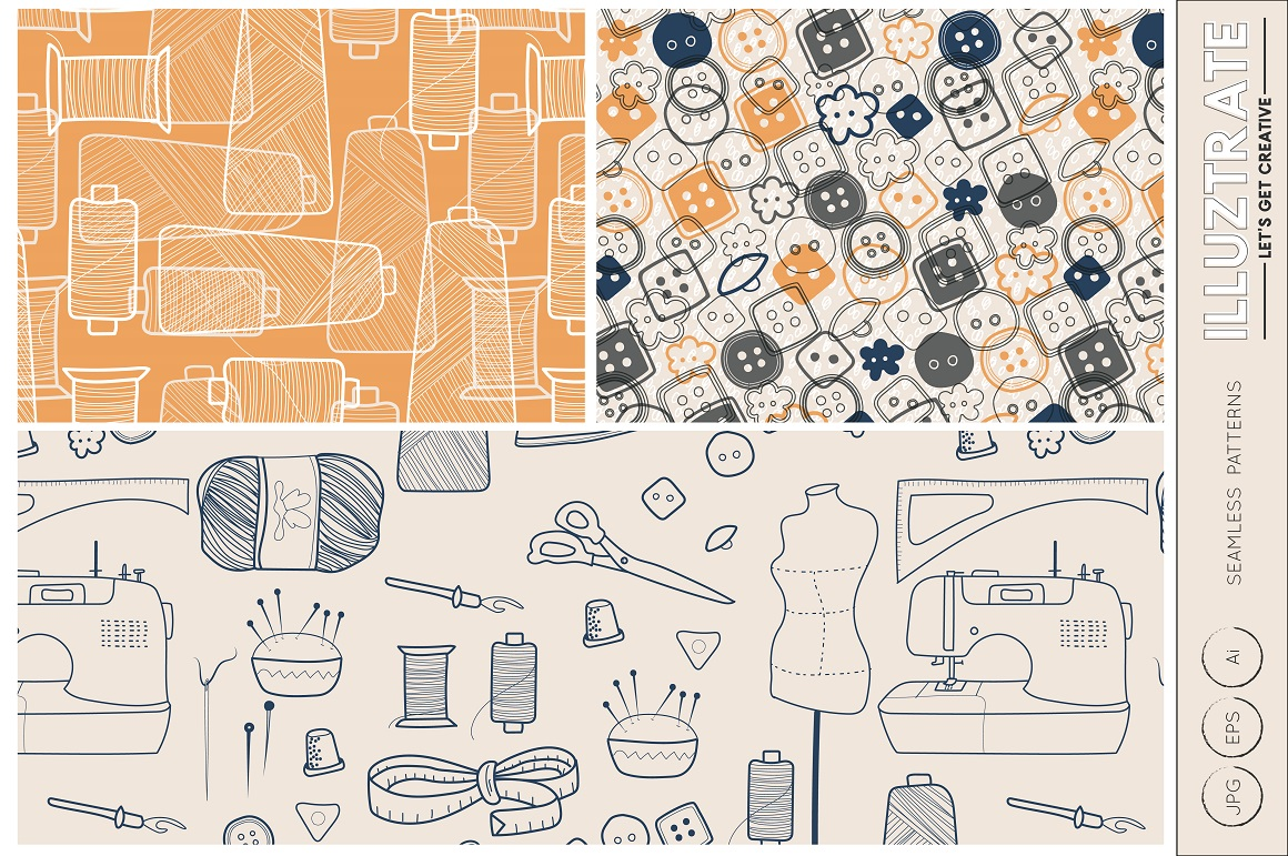 Sewing Vector Patterns Graphic By Illuztrate Creative Fabrica