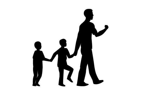 Download Free Silhouette Of Dad And Kids Svg Cut File By Creative Fabrica for Cricut Explore, Silhouette and other cutting machines.