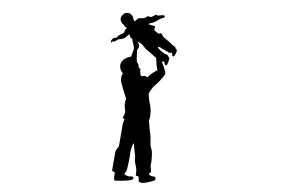Silhouette of Dad Raising a Child in the Air Family Craft Cut File By Creative Fabrica Crafts